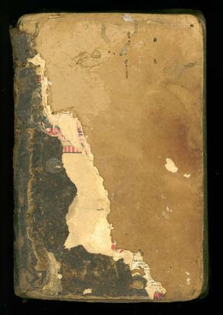 ancient grungy and tattered book cover background Stockfoto