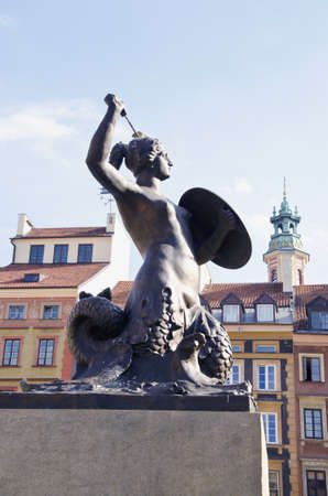 sculpture in old town Poland capital Warsaw