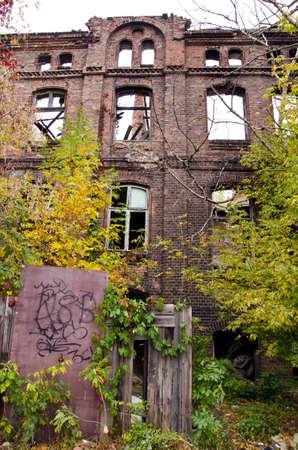 praga: historical house ruins in Warsaw Praga district