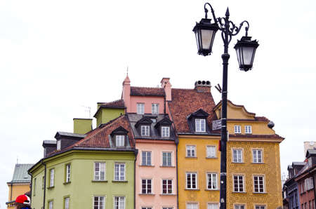 lamp in Poland capital Warsaw old town  Stock Photo