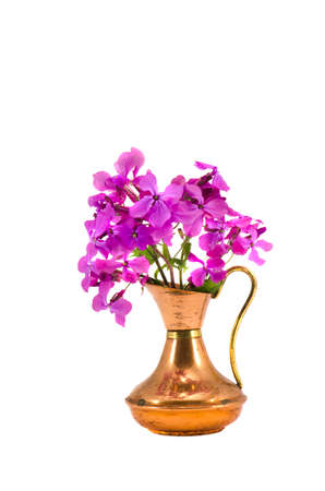 isolated on white brass vase and spring flowers photo