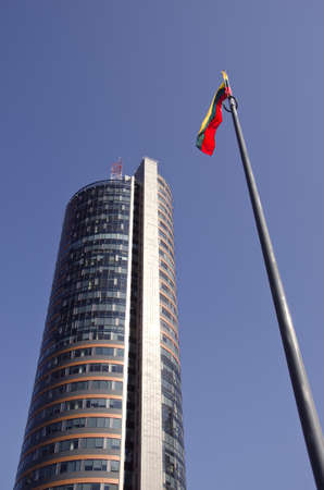 new Vilnius architecture and Lithuanian national flag