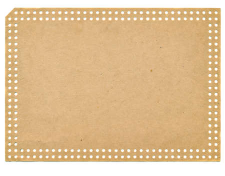 isolated on white vintage empty and brown paper punchcard Stock Photo - 14254717