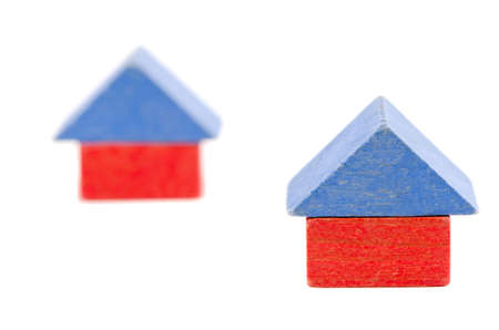 wooden old toy block house symbol construction photo