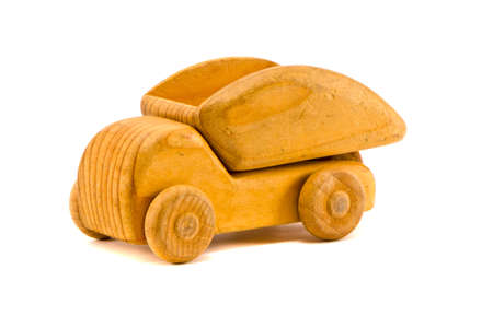 isolated on white background retro wooden toy truck photo