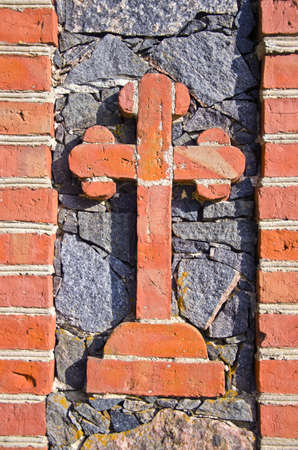 historical cemetery gate original bricks cross