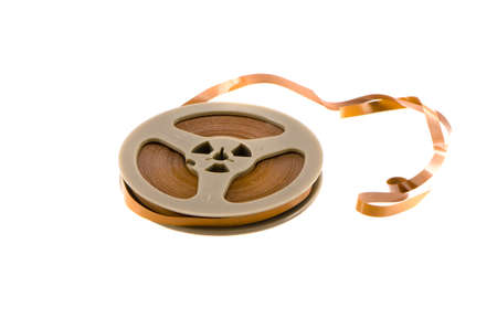 old recorder audio tape isolated on white background photo