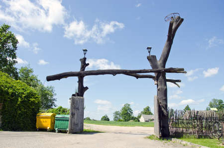 original wooden farm museum big gate photo