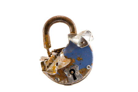 old cracked metal lock isolated on white background Stock Photo - 15741471
