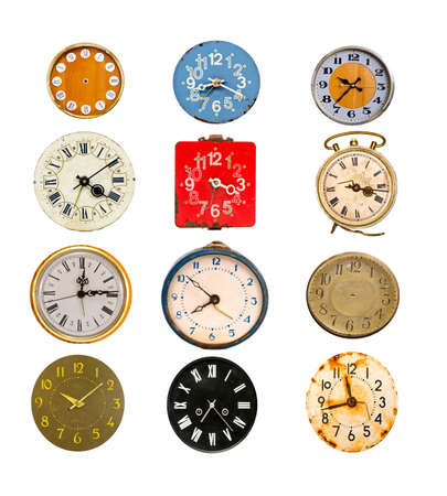 antique colorful clock dial collection isolated on white Stockfoto