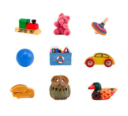 assorted toys collection isolated on white background photo
