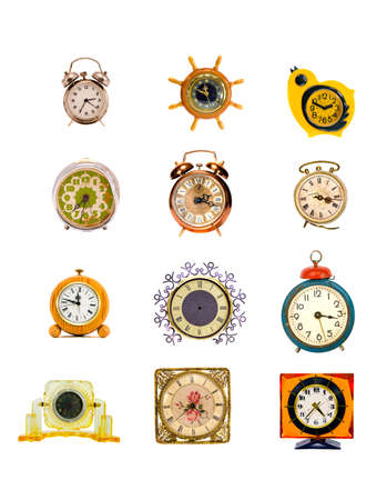 assorted original  design vintage clock and alarm-clock collection isolated on white Stockfoto