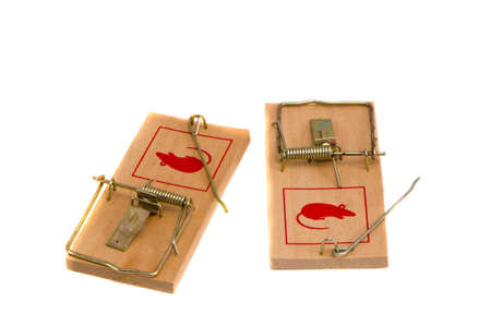 two isolated on white background mouse traps photo