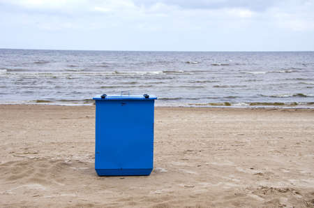 metal garbage container on sea resort beach sand Stock Photo - 16262182