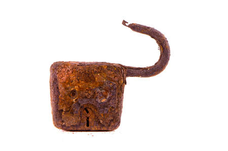 aged and rusty metal lock isolated on white background photo
