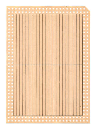 perforate: old catalog perforate card paper isolated on white background
