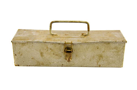 old and rusted metal box for carpenter tools isolated photo