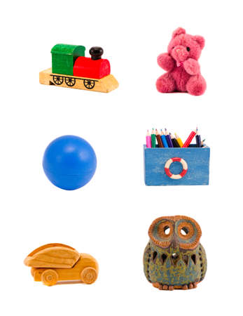 various toys group isolated on white background photo