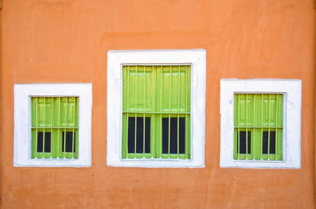wall with three windows in Jaipur, India photo
