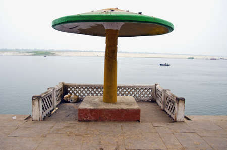 summerhouse on sacred Ganga river coast in Varanasi, India photo