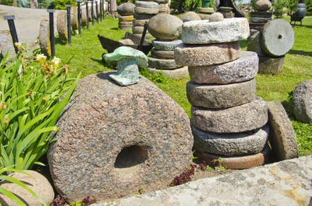 millstone: historical millstone collection in old farm