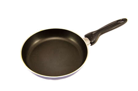 a black metal pan isolated on white background Stock Photo