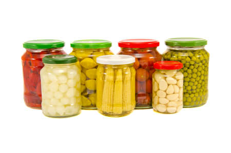 various potted vegetables glass jars group  isolated on white background photo