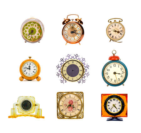 various assorted vintage clocks group isolated on white photo