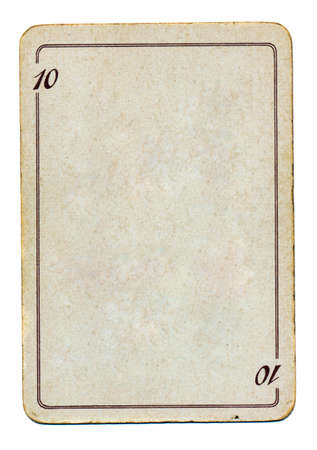 ten empty: isolated on white empty old playing card paper with number ten
