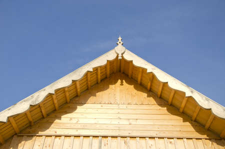new wooden farm house roof and wall construction  fragment Stock Photo