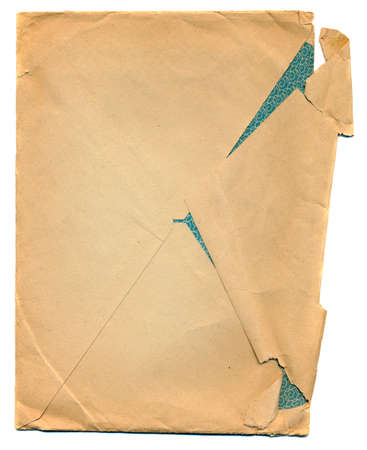creasy: ancient creasy envelope paper isolated on white background