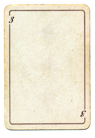 isolated on white empty old playing card paper background with number three