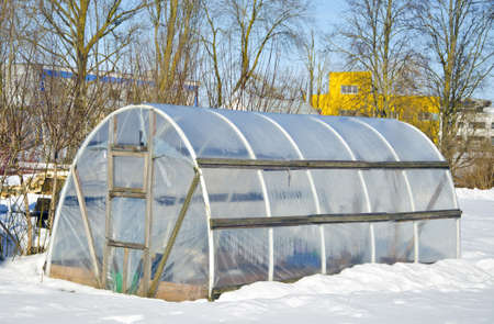 handmade polythene greenhouse for vegetable  in winter time on snow photo