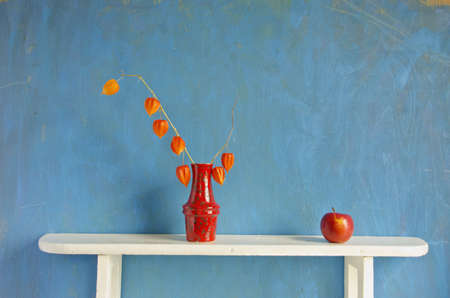 husk tomato: still-life with red apple and dry husk tomato flowers in vase