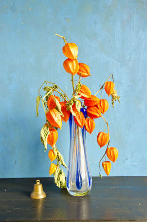 husk tomato: glass vase with dry husk tomato flowers and vintage brass bell