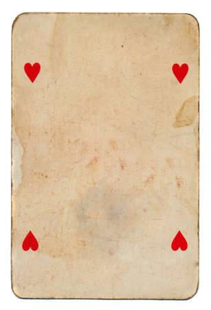 old grunge playing card background with four hearts isolated on white photo