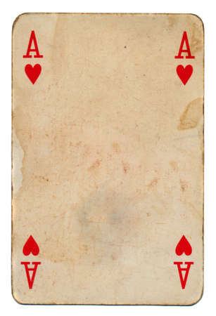 old grunge playing ace card with hearts isolated on white photo