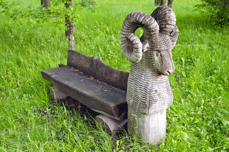 old wooden bench in park with ram sculpture on green summer grass photo