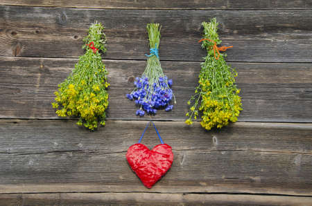 medical herbs flowers bunches and red heart symbol on old wooden farm wall