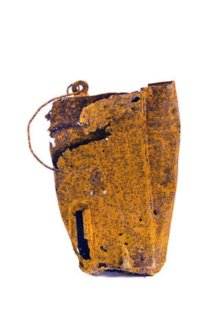 scrap iron: old rusty metal bucket for milk isolated on white background. Scrap iron object Stock Photo