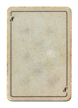old playing card with line and number eight dirty background