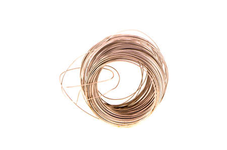 drawn metal: new roll of metal wire isolated on white background