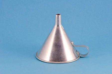 lubricate: one retro metal funnel hopper tool on blue background