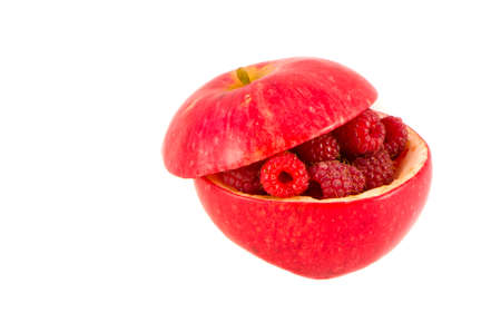 apple and raspberry isolated on white. healthy food concept