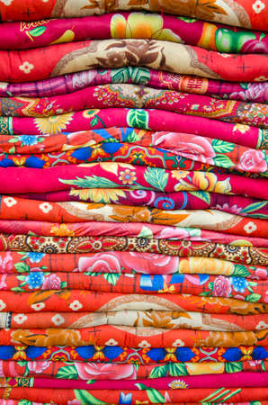 deg: colorful cloth  bed sheets bedding objects in asia market