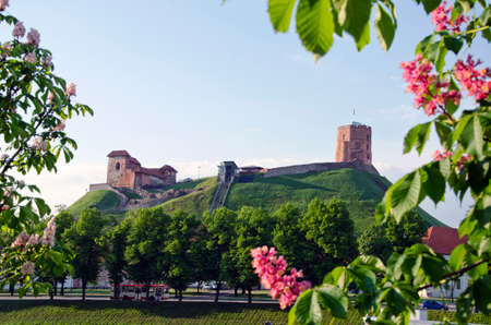 oldest Vilnius symbol - historical castle and tower of Gediminas in spring, Lithuania Editorial