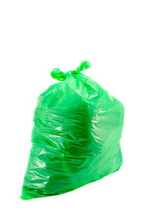 isolated full green garbage plastic bag in white background. Rubbish sack Stock Photo