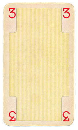 tatty: empty playing card paper background with number three 3 and line. Isolated on white