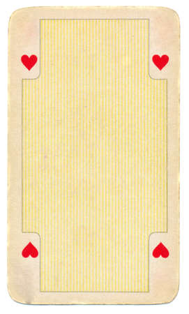 straight flush: vintage playing card of hearts paper background -isolated on white Stock Photo