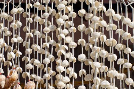Seashell decorations and souvenirs at market  Tamil Nadu, India  photo